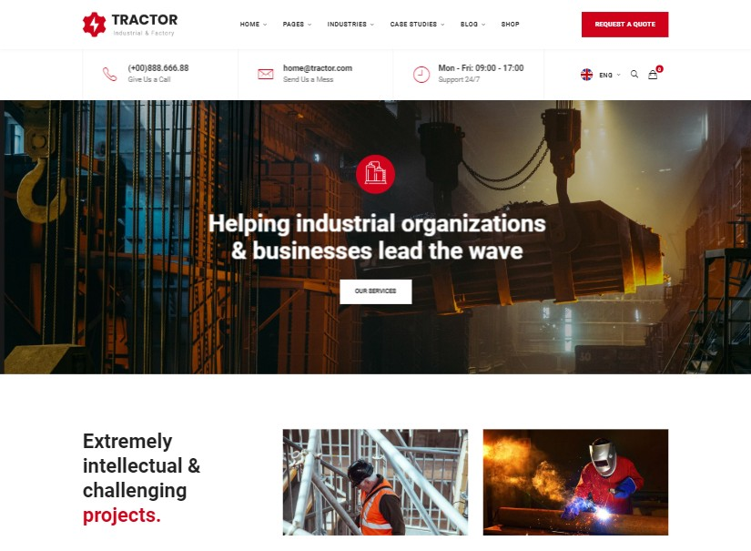Tractor - latest industrial website template