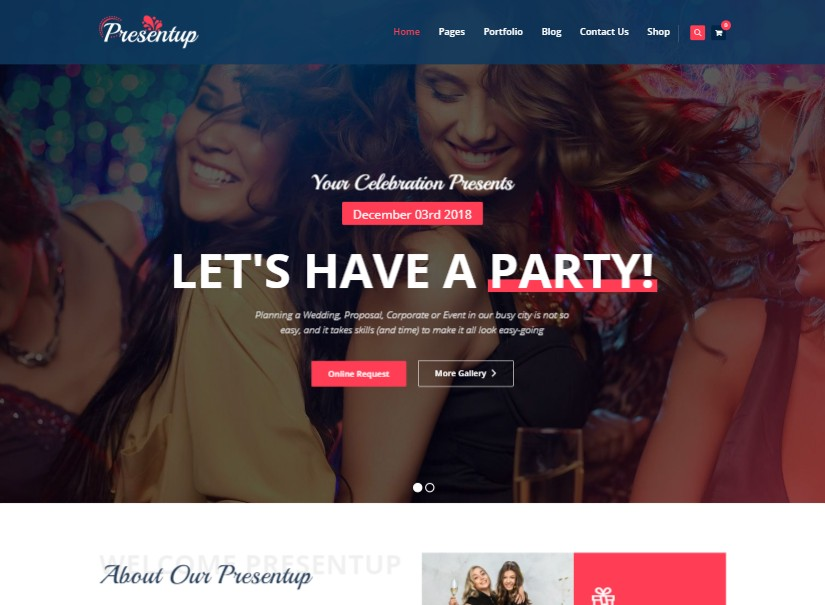 Presentup - entertainment website design