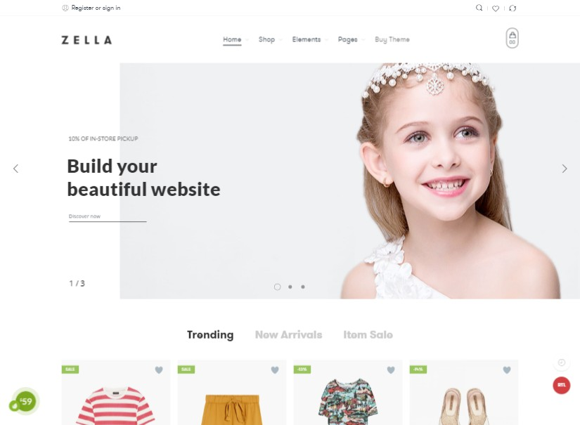 Zella - latest ecommerce website templates