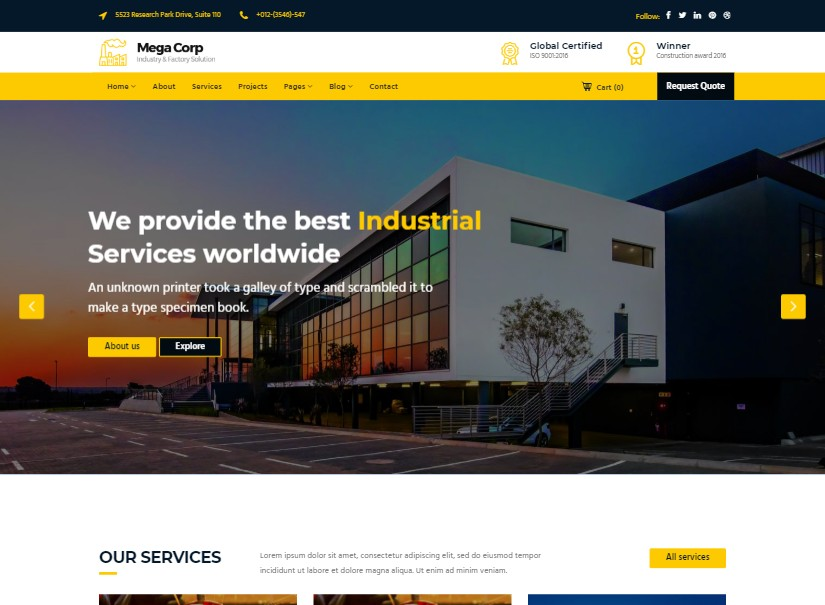 Megacorp - top industrial website design