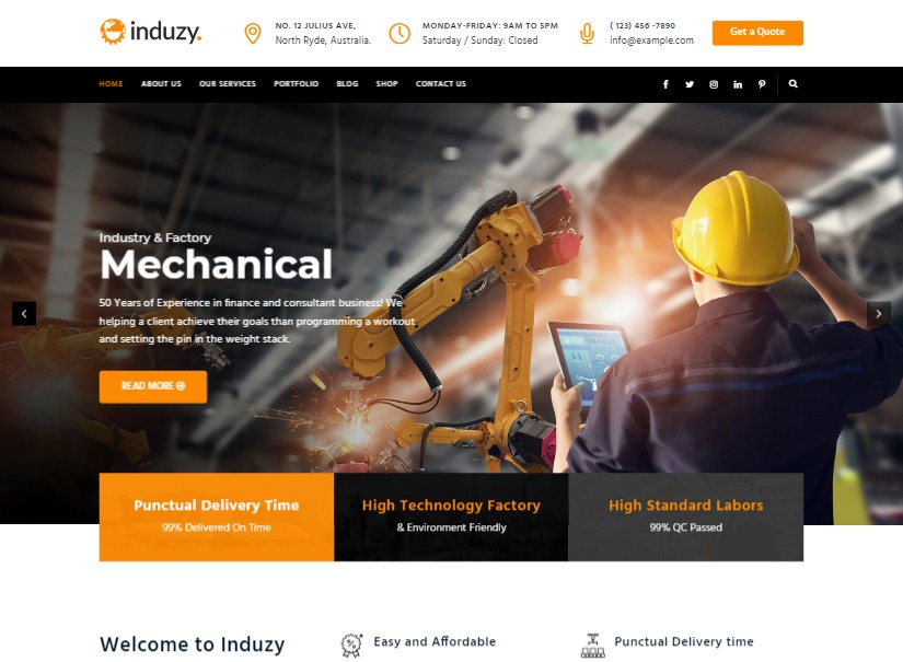 Induzy - latest industrial website design