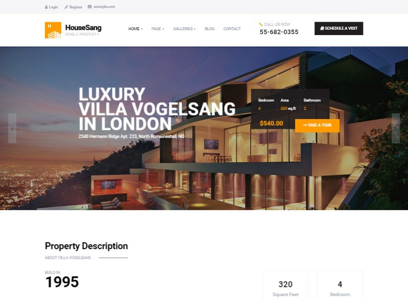 HouseSang - latest real estate website templates