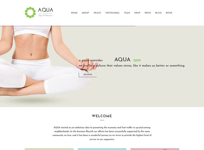 Aqua - Spa and Beauty Joomla VirtueMart Template