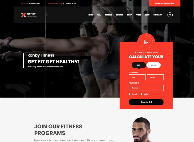 Fitness Ronby - best html website templates