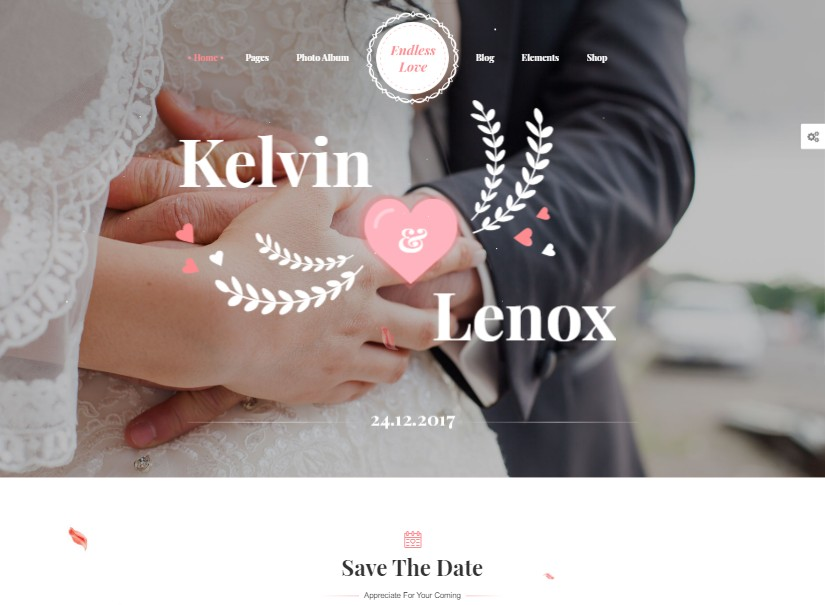 EndlessLove  - best wedding website templates