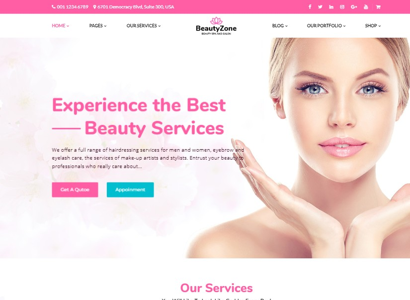 BeautyZone - best beauty website templates