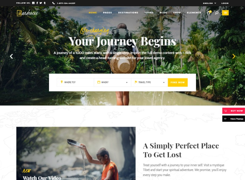 Wanderers - best tour and travel website templates