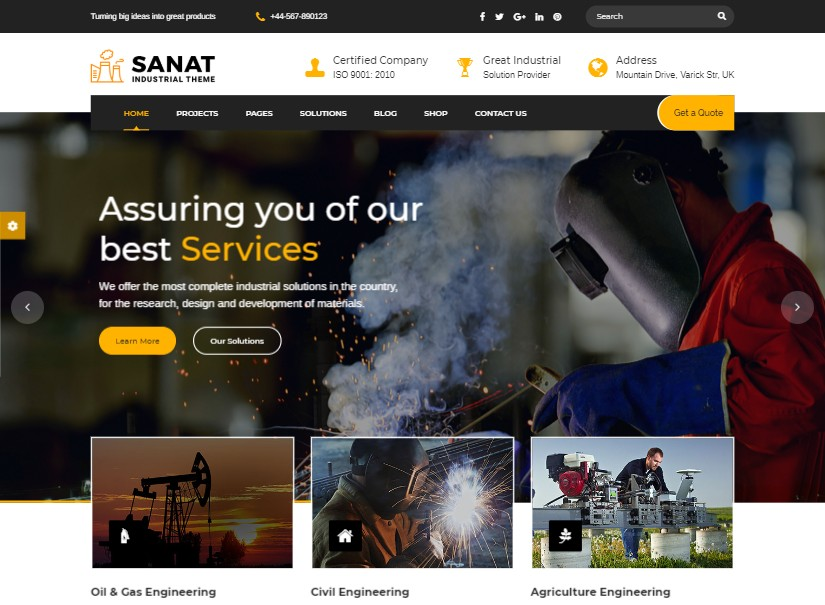 Sanat - best industrial website template