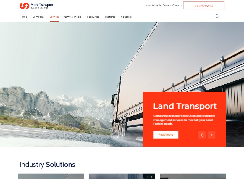 Morz - best transport website templates