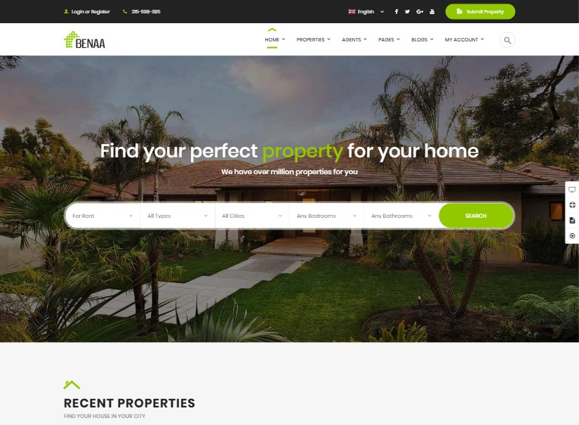 Benaa - best real estate website theme
