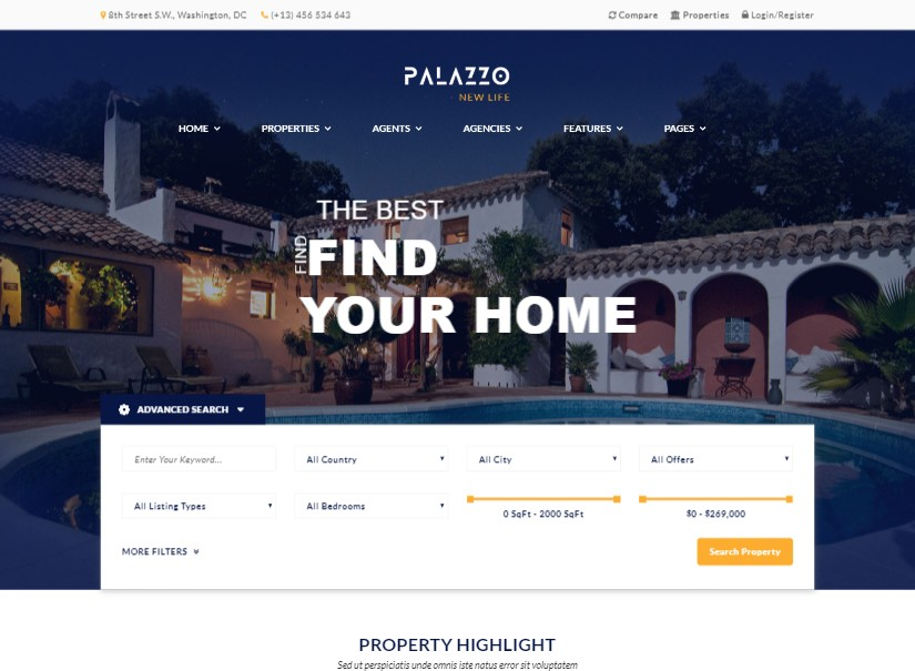 Palazzo - Real Estate Website Templates