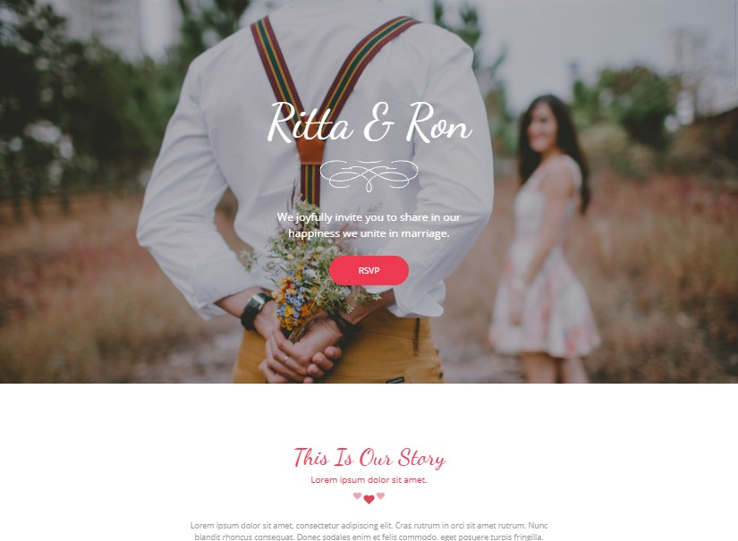 Weddly - landing page website templates