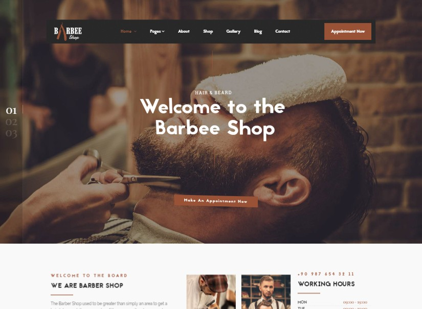 Barbee - Barber Wordpress Themes