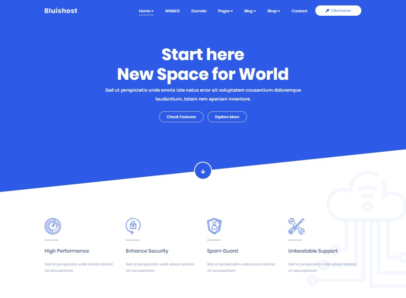 Bluishost - best technology website templates