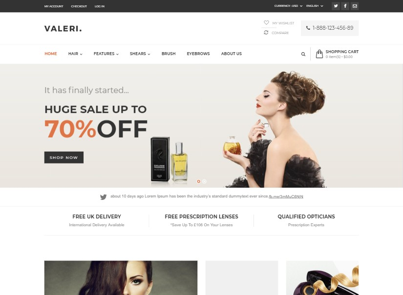 Valeri - latest beauty website templates