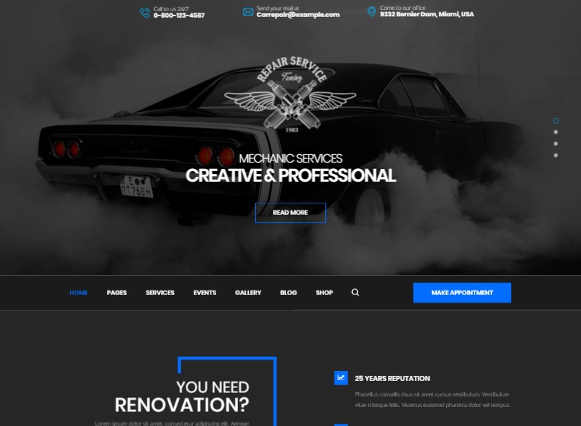 CarRepair - best transport website template