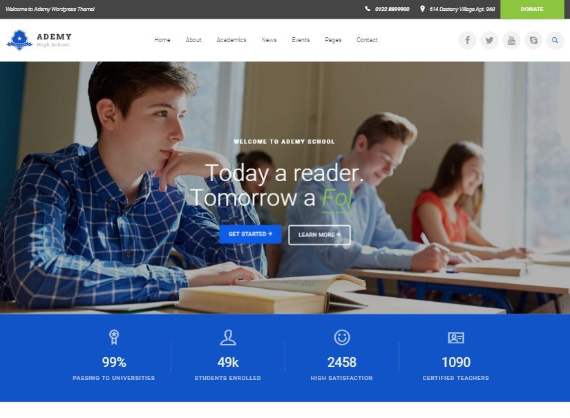 Ademy - top educational website templates