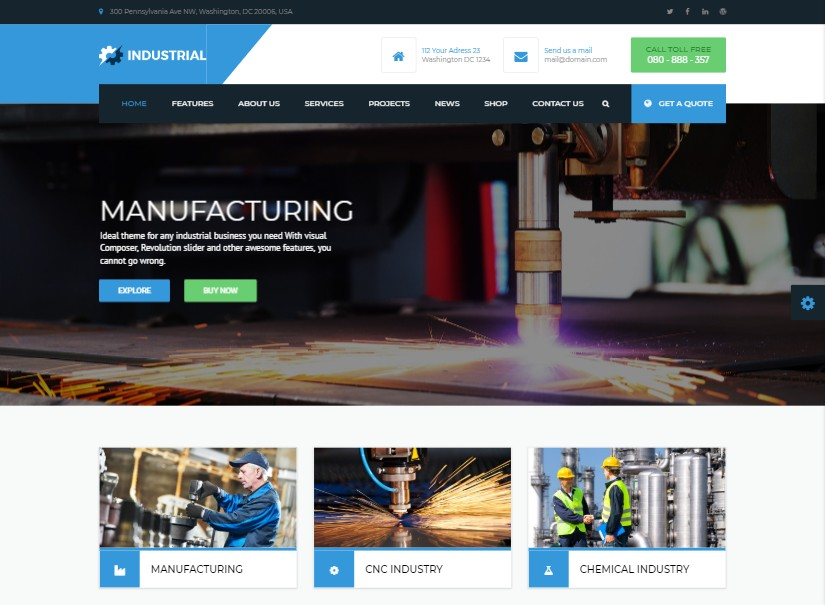 Manufacturing - latest industrial website template