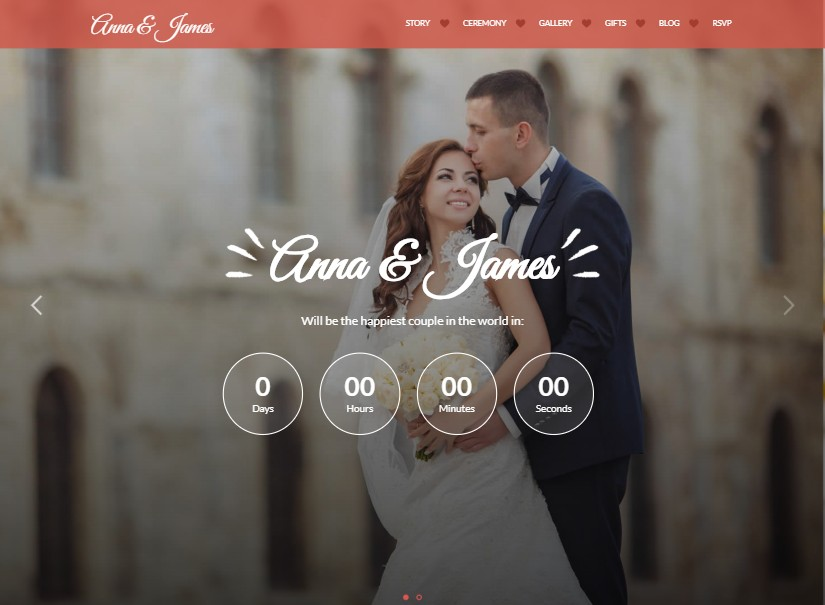 Amore - best wedding website templates
