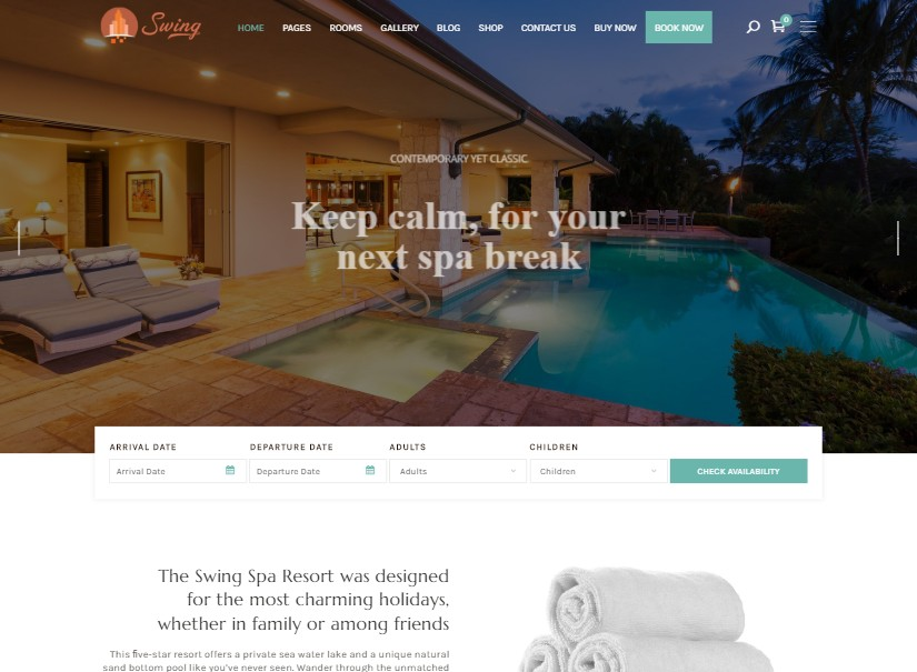 Swing - latest hotel website templates