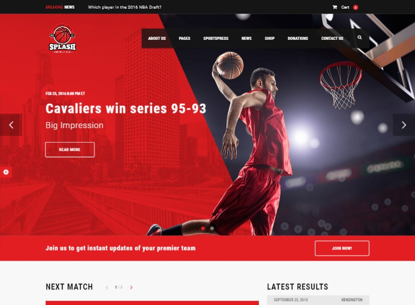 Splash - best sports website template