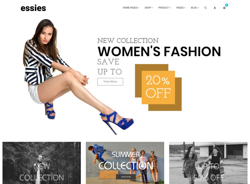 Essies - latest ecommerce website templates