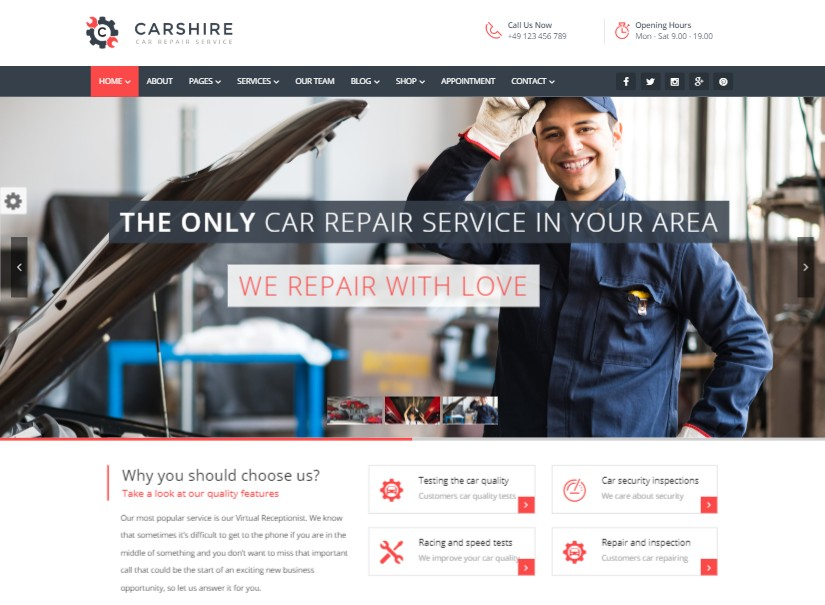 Car Shire - best transport website template