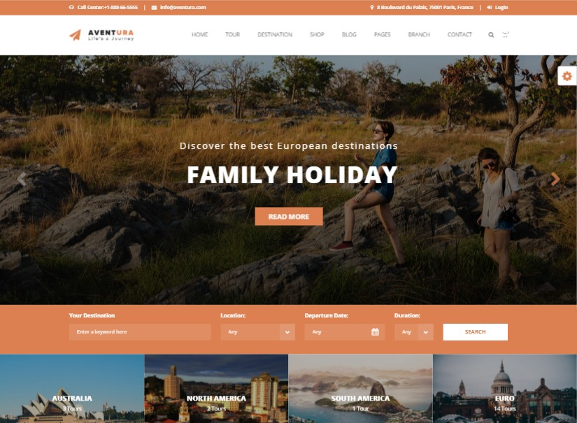 Aventura - tour and travel website design