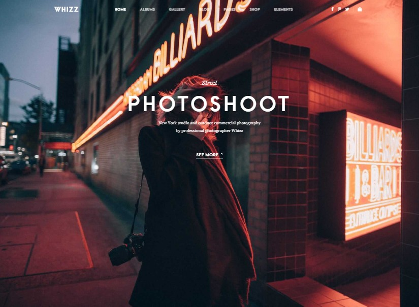 Whizz - Best photography website templates