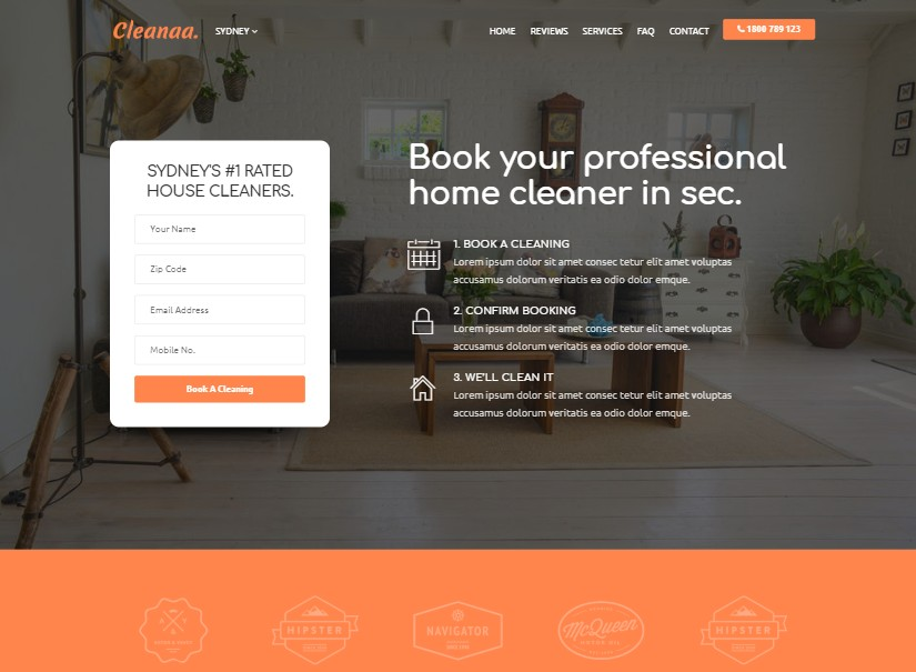 Cleanaa - top landing page templates