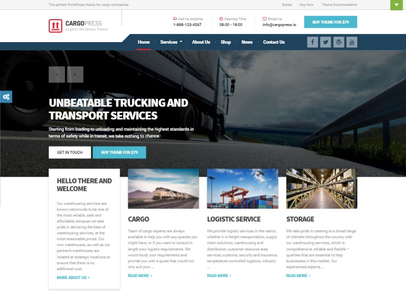 CargoPress - best transport website templates