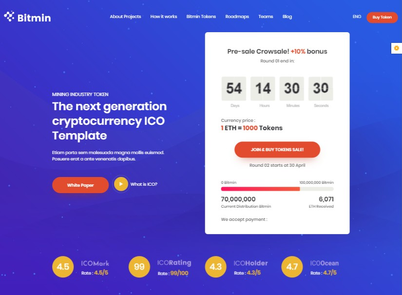 BitMin - best technology website templates