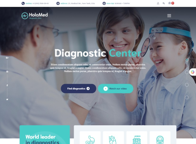 HolaMed - top hospital website template