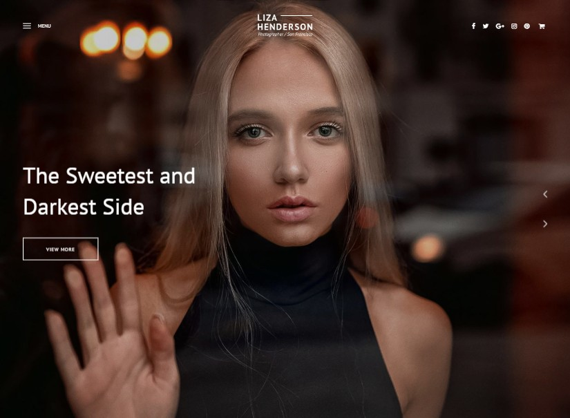 Liza - best photography website templates