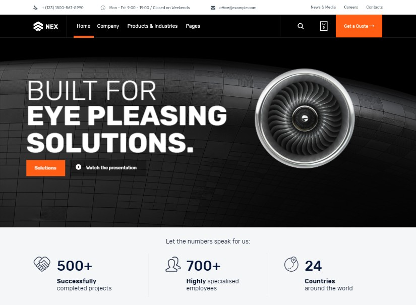 Nex - best industrial website template