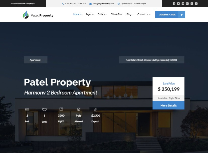 Patel - latest real estate website theme