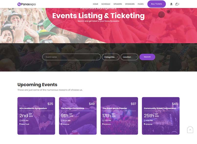 Pana Events Listing and Conference Drupal 8.8 Theme