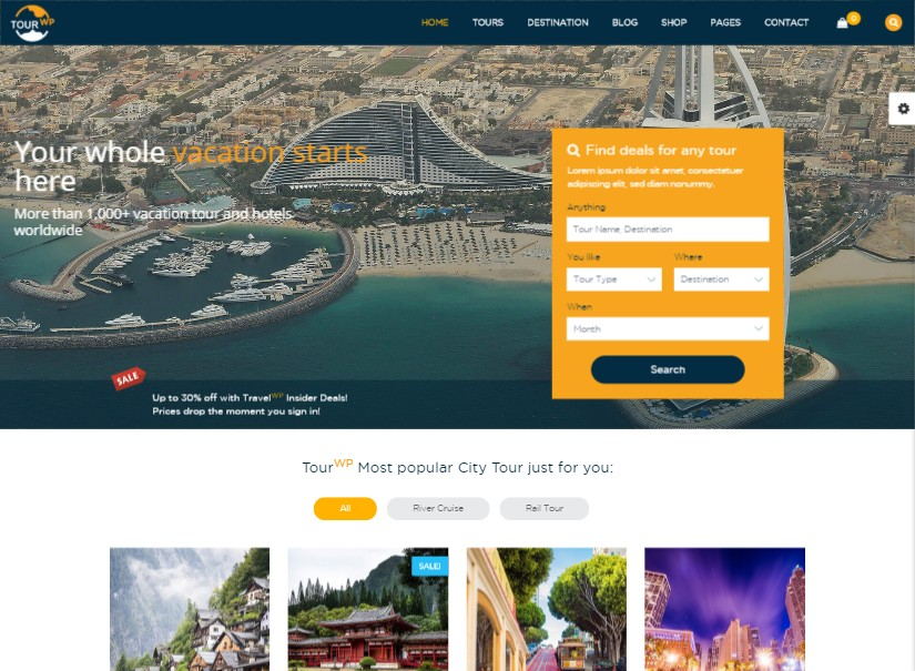 Tour WP - best tour and travel website templates