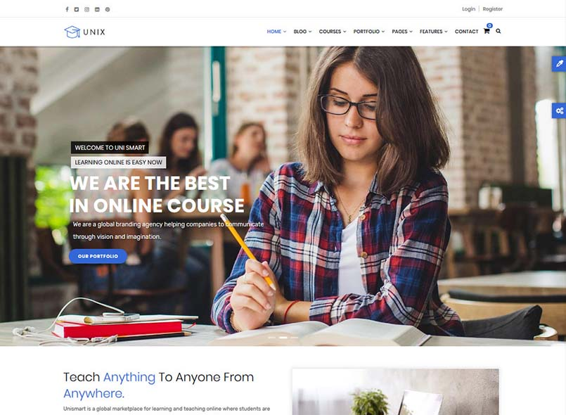 Unix - Powerful Education, Courses Online Drupal 8.8 Theme
