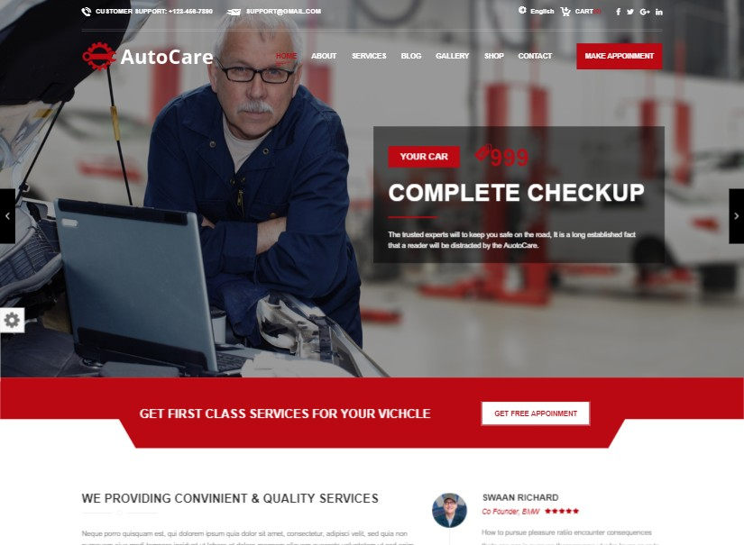 Auto Care - best transport website templates