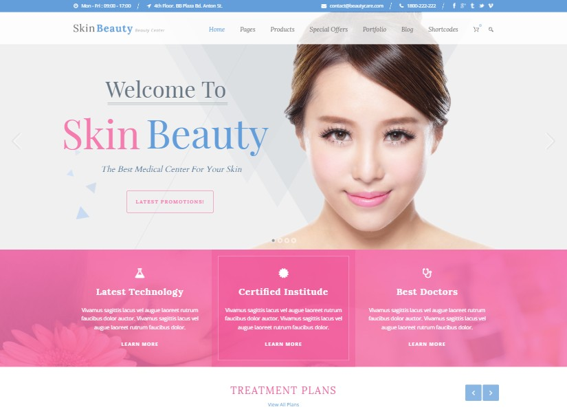 Skin Beauty - top beauty website templates