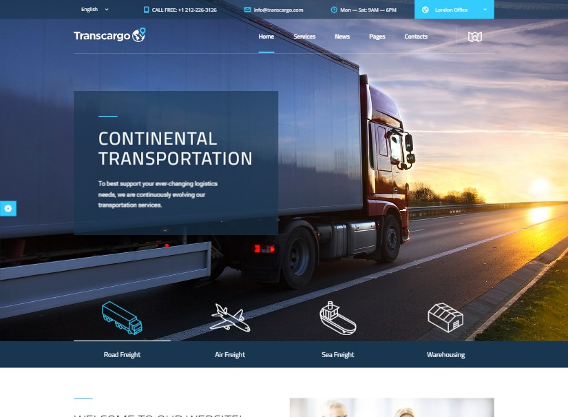 Transcargo - best transport website templates