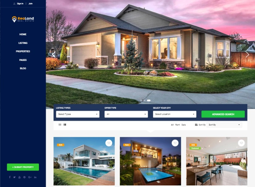 Download Top 20+ Best Real Estate Website Templates Design Wordpress
