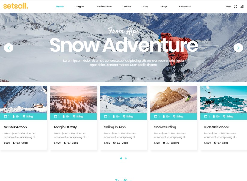SetSail - best tour and travel website templates