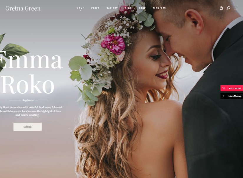 Gretna - best wedding website templates
