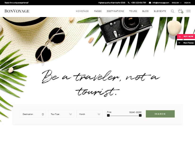 BonVoyage - tour and travel website design