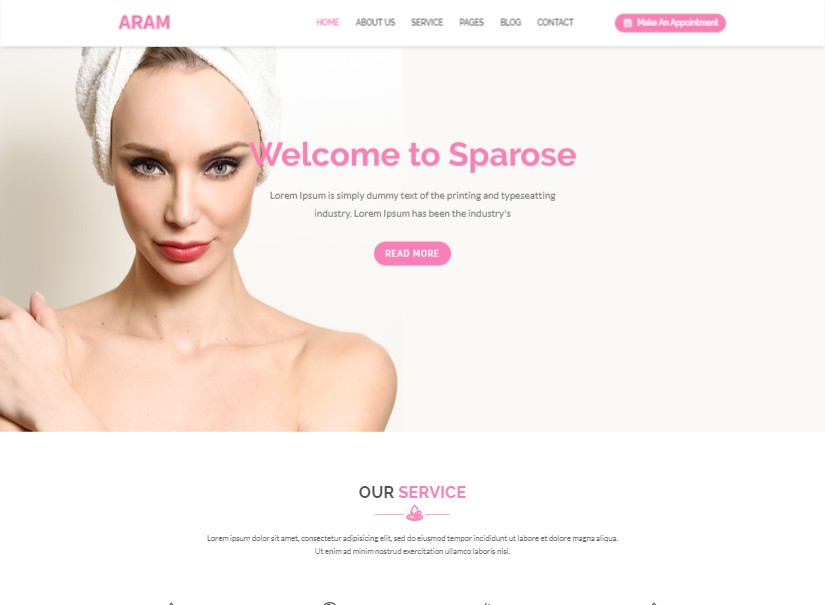 Aram - best beauty website templates