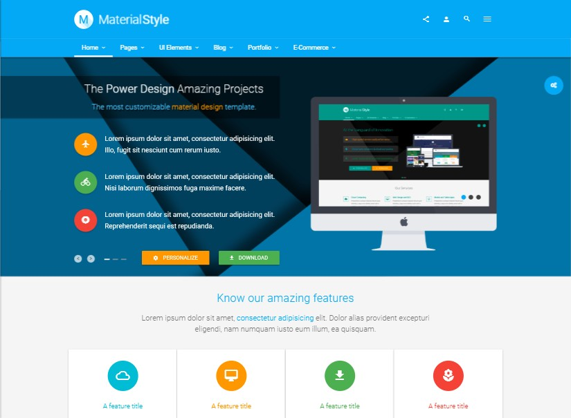 Material Style - best corporate website templates