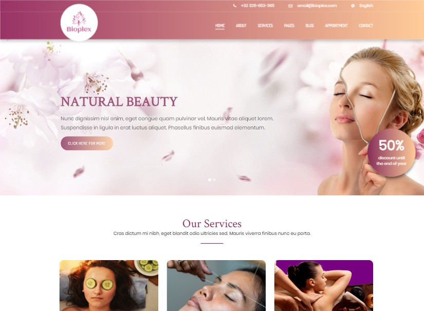 Bioplex - top beauty website templates