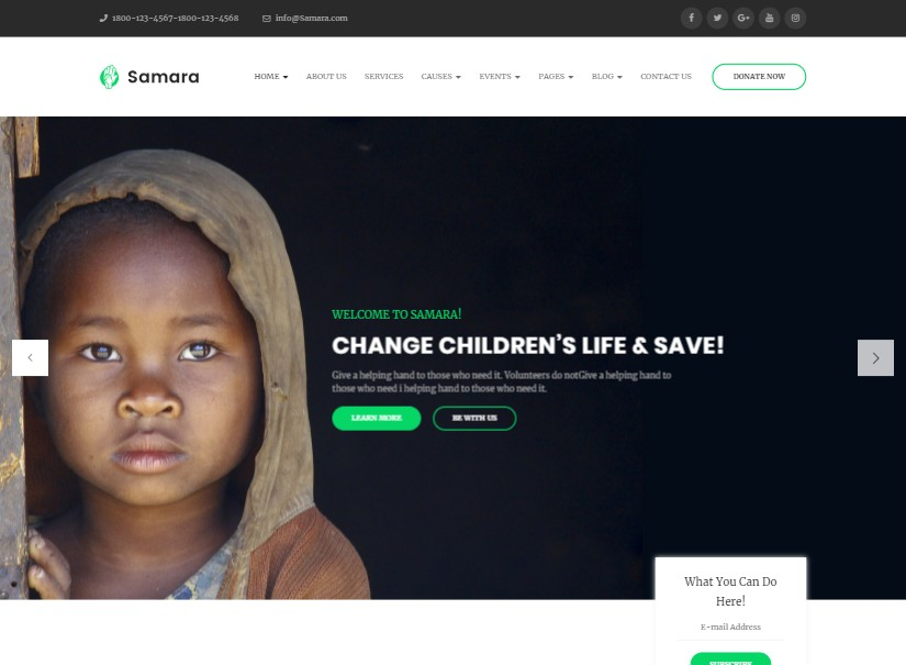 Samara - NonProfit Latest Wordpress Theme